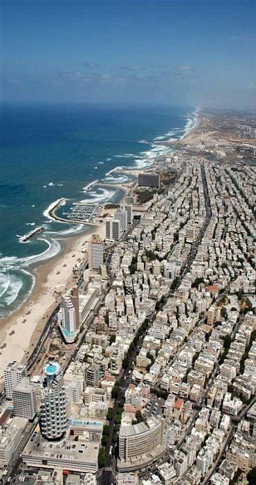 Top view of Tel Aviv, Israel. https://ExploreTraveler.com