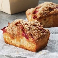 Strawberry Rhubarb Cake/Muffins. Very close to mini coffee cakes from Panera Bread.
