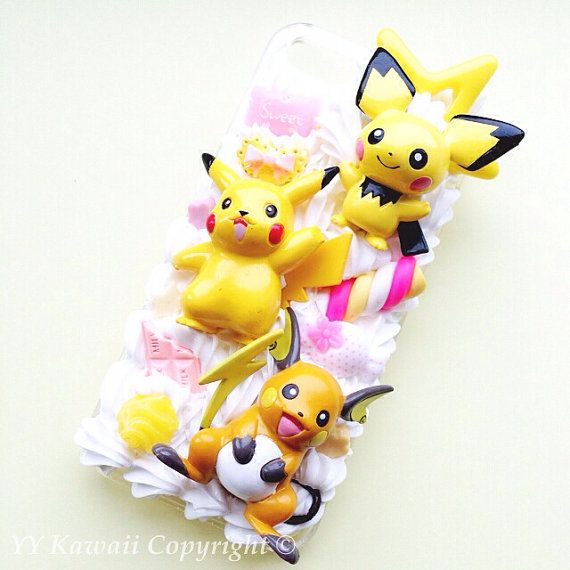 Custom Kawaii Pokemon Pickachu Evolution Decoden Phonecase Pichu and Raichu includes  for Iphone 4/4s 5, Samsung Galaxy S2 S3 S4, HTC on Etsy, $32.00