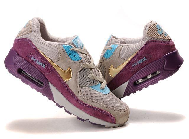 Women's Nike Air Max 90 Grey Purple Blue Golden | My kicks | Pinterest |  Best Air max 90 and Nike air max ideas