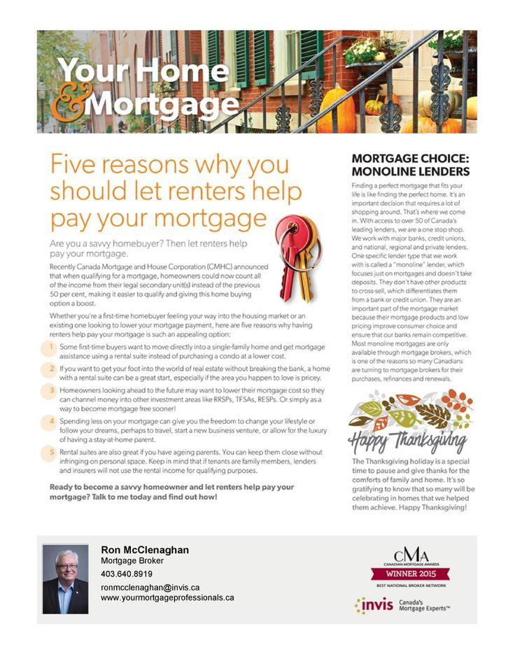 5 reasons to let renters help pay your #mortgage  Enjoy our October newsletter to discover why #yyc #yycre