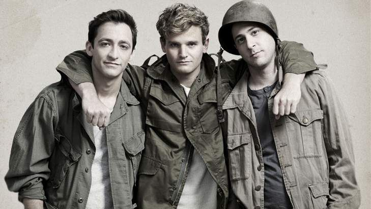 Band of brothers: From left, Matthew Backer (Dauphin), Michael Sheasby  (Henry V)  and Damien Strouthos (Pistol).