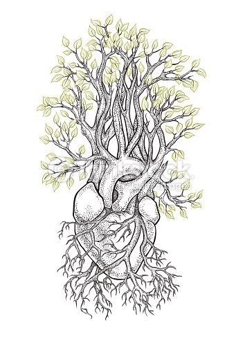 Vector Art : Human heart from which grows a tree