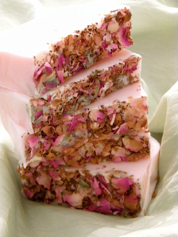 Frankincense & Myrrh Essential Oil with Dried Rose Petal Handmade Soap - and I thought this scent would be for more of a rustic woodsy musky soap.  This looks very dainty.