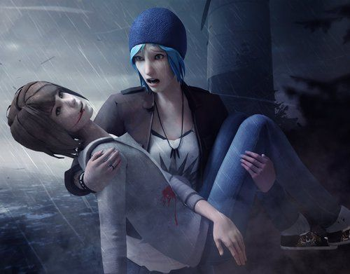 chloe, life is strange max, death, rain, fanart, videogames