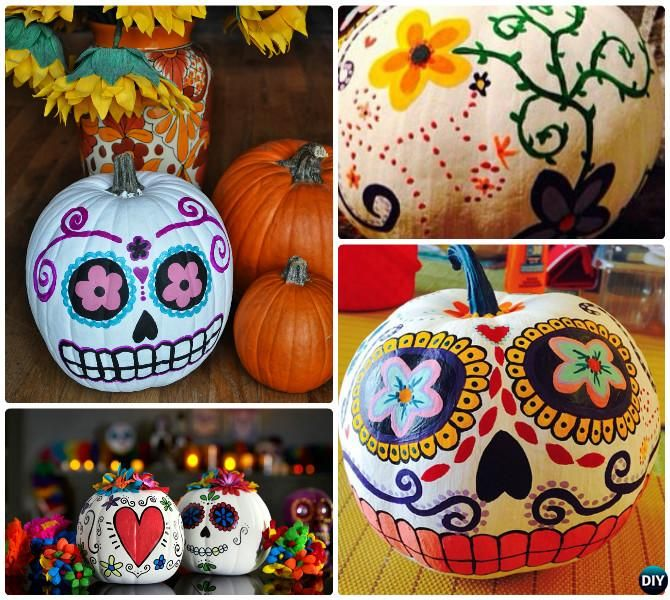 no carve halloween pumpkin decoration crafts instructions - Decorated Halloween Pumpkins