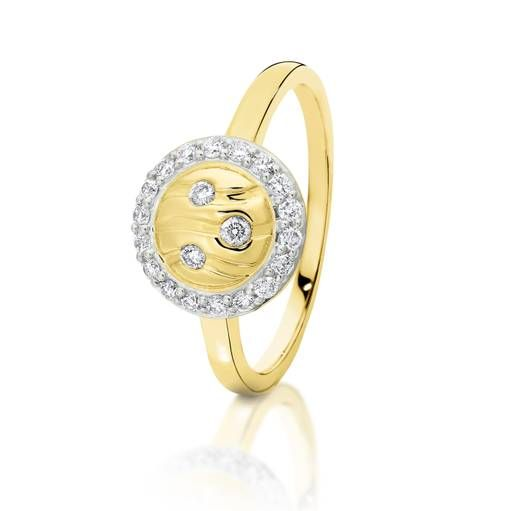 Dreamtime 9ct Yellow Gold Diamond River Cluster Ring