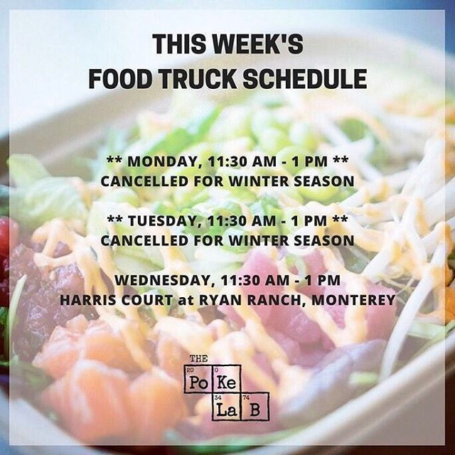 This week on the food truck we'll be carrying limited quantities of salmon, chicken & seaweed salad. Add a scoop while they last!⠀⠀ -⠀ Food Truck Offerings:⠀⠀ -⠀ 1. Tun'a Tuna Bowl (Spicy Tuna, Ahi Tuna, Ahi Da'Kine)⠀⠀ -⠀ 2. Vegetarian Bowl (Tofu, Shiitake Mushrooms & Avocado)⠀⠀ -⠀ 3. Shrimp & Avocado Bowl (2x Shrimp, 2x Avocado)⠀⠀ -⠀ #ThePokeLab #PokeLab #Poke #PokeBowl #Poki #PokiBowl #Monterey #SeeMonterey #SeafoodWatch #MontereyBayAquarium #Sustainable #Seafood #CarmelByTheSea #Carmel…