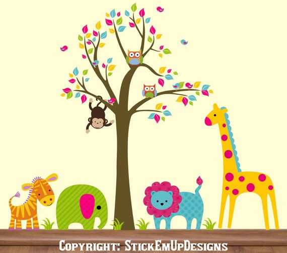 Gorgeous nursery decals, colorful and sweet.