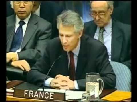 Discours de Dominique de Villepin à l'ONU contre la guerre en Irak.