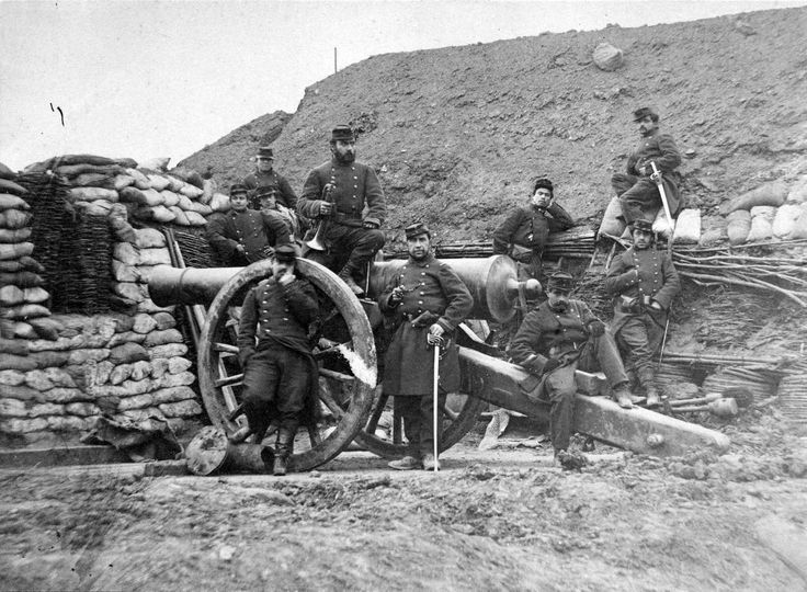 Franco-German War, 1870-71: French artillery troops pose for a photo around their cannon, July 1870. This is still an artillery piece that needs to be returned to position after each discharge -- very much the same drill as during the Battle of Waterloo some 60 years before this shot. The war ended with a humiliating French defeat.
