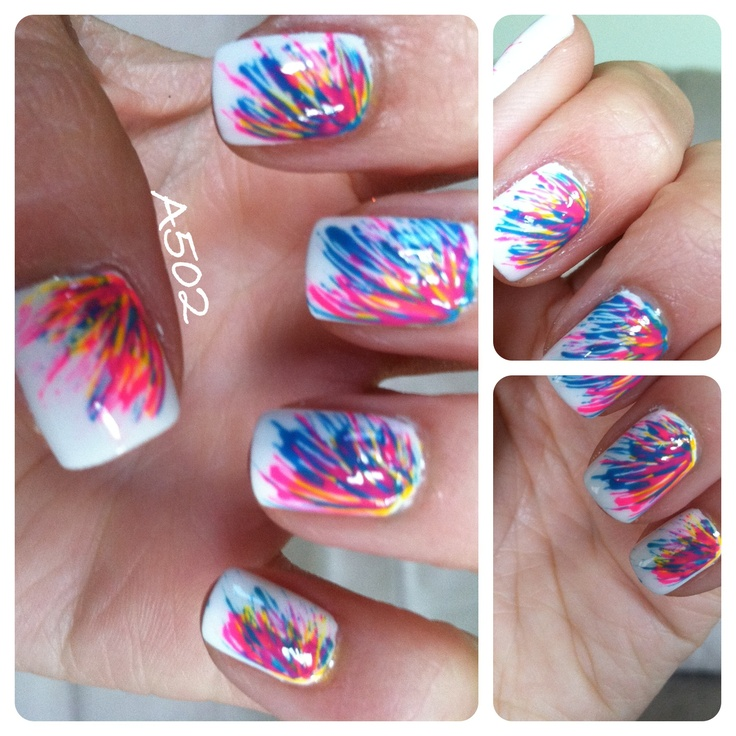 toothpick mani...paint a base, place dots of color, then ...