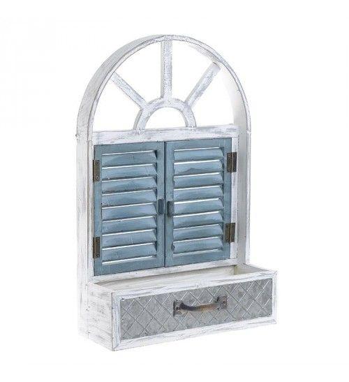 WOODEN_ΜΕΤΑL 'WINDOW' FLOWER POT IN ANT WHITE_PETROL 31_5Χ12Χ48