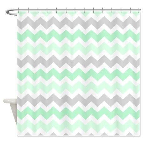 Mint grey white chevron stripes shower curtain grey for Shower curtain savers
