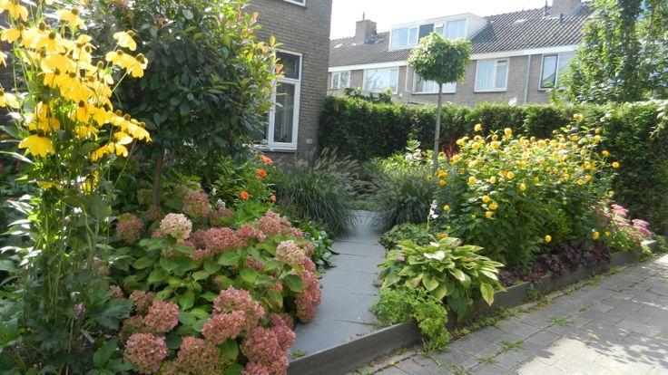 De voortuin van een plantenliefhebber! Door een duidelijke structuur van het pad en een groenblijvende basis van planten is het onderhoud te overzien en is de tuin het hele jaar mooi!