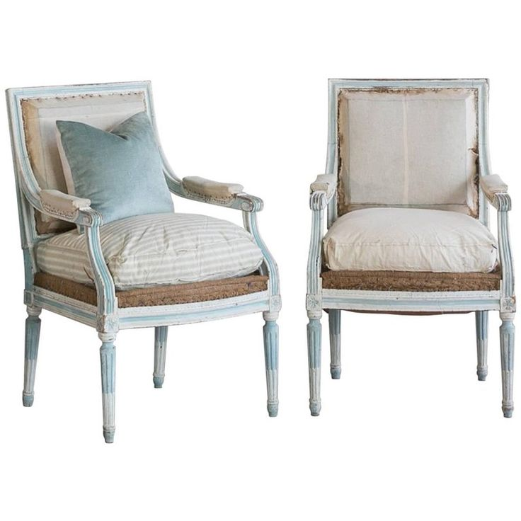 Pair of Antique Armchairs in Washed Aqua Finish: 1890 | From a unique collection of antique and modern armchairs at https://www.1stdibs.com/furniture/seating/armchairs/