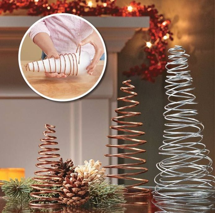 4 Inexpensive Christmas Decor Ideas - Easy wire table trees.