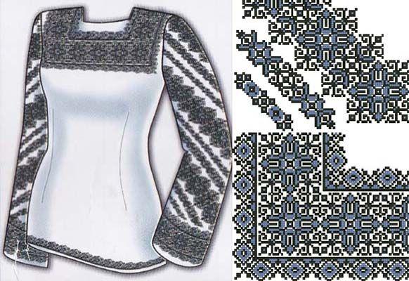 Сорочки - Вышиванки - схемы вышивки крестом скачать .xsd | 5