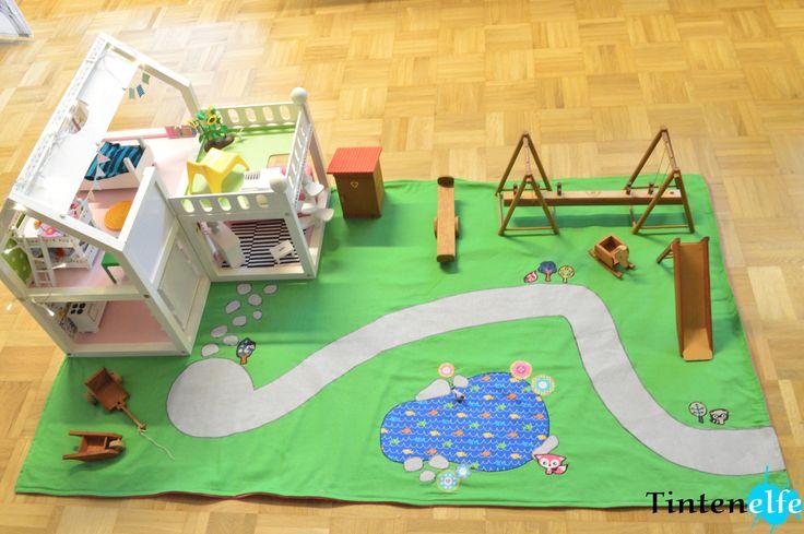Tintenelfe.de - Tintenelfes Blog - Puppenhaus verschönern und Spieldecke nähen #puppenhaus #dollhouse #haba #spieldecke #playmat  #ikea