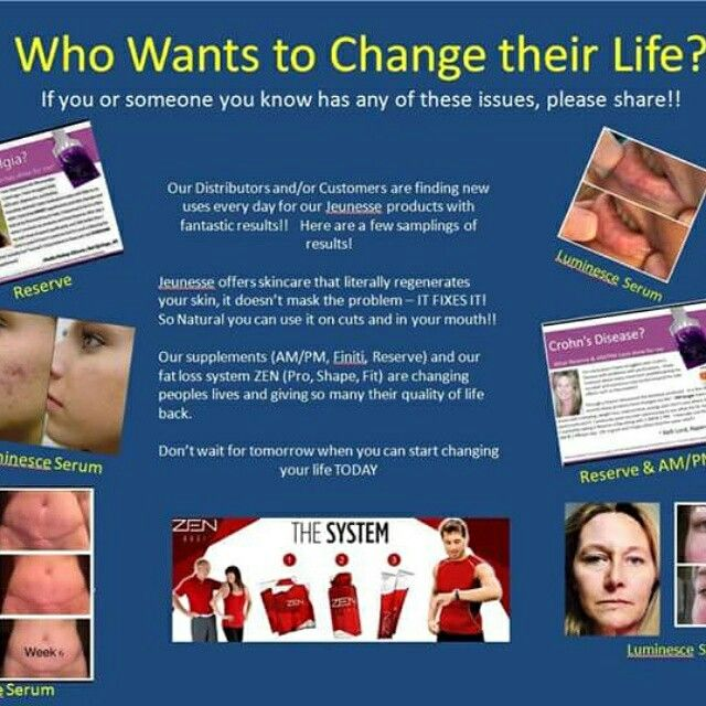 Jeunesse has anti-aging and wellness products for everyone. If you have any of these issues, visit my website for more information on the products. www.amiewolff.jeunesseglobal.com
