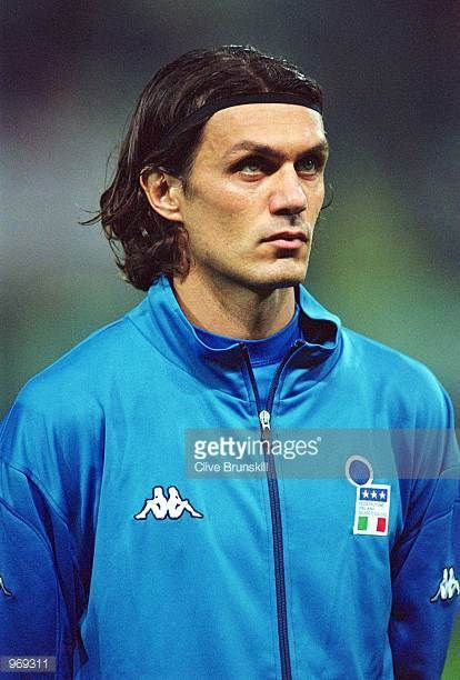 Captain Paolo Maldini of Italy lines up prior to the FIFA 2002 World Cup Group Eight Qualifying match against Hungary played at the Ennio Tardini...