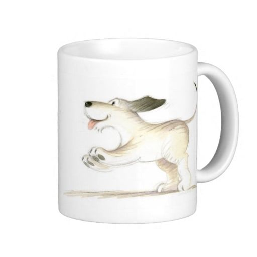 Cute Funny Puppy Dog Coffee Mug from the children's book One Bear One Dog by Paul Stickland