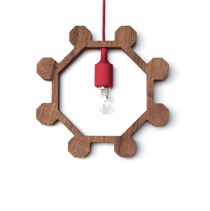 Pendant lamp Mina. Made of oak wood with silicone lampshade. Designer: Alessandro Di Giuseppe.