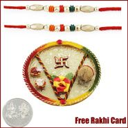 Swastik Rakhi Thali with Free Silver Coin and rakhi gifts to mumbai
