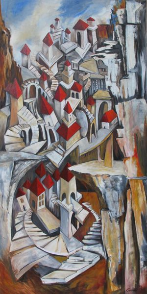 Irene, città invisibili, olio su tela