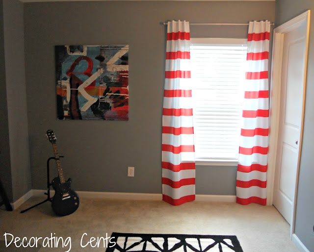 Decorating Cents: Striped Curtains from shower curtains