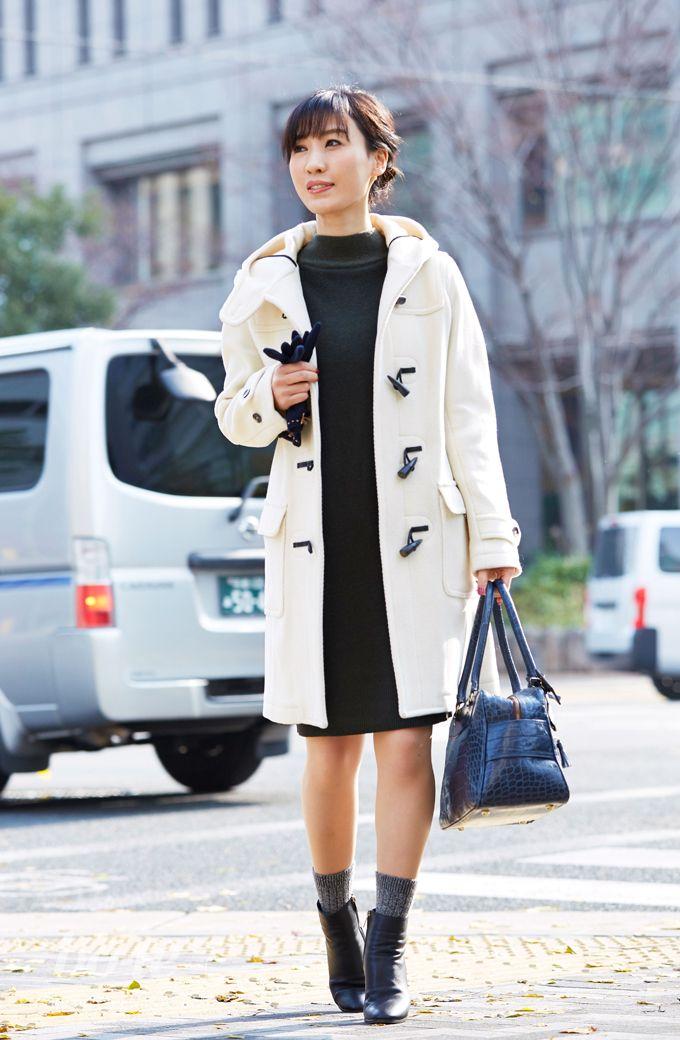 細身のニットワンピ×上質レザーのショートブーツで叶える冬の大人靴下コーデ6 #fashion
