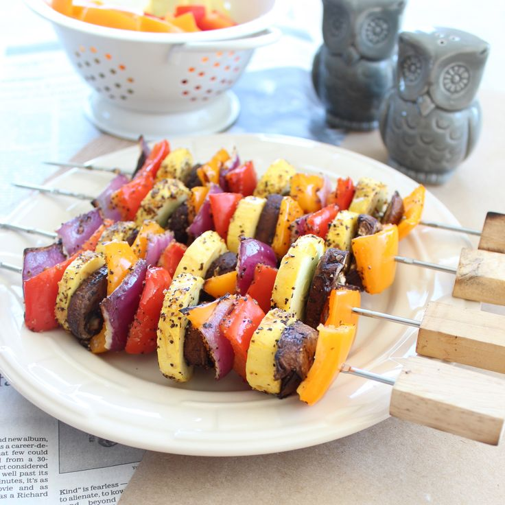 Grilled Vegetable Skewers-add meat for kyle