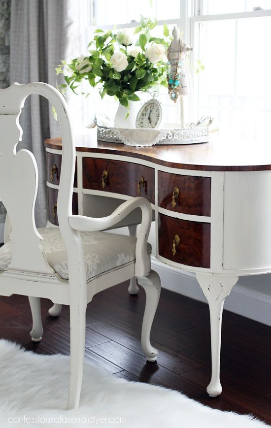 $30 Thrift Store Dressing Table Makeover bedroom furniture - Bedroom Vanity Table