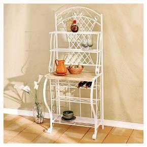 Crafted for form and function, the Aiden Lane Trellis Baker's Rack upgrades any kitchen. Wire shelves, a wine rack, and ample counter space fit all your storage needs. Create an on-trend, farmhouse style kitchen or bath today!