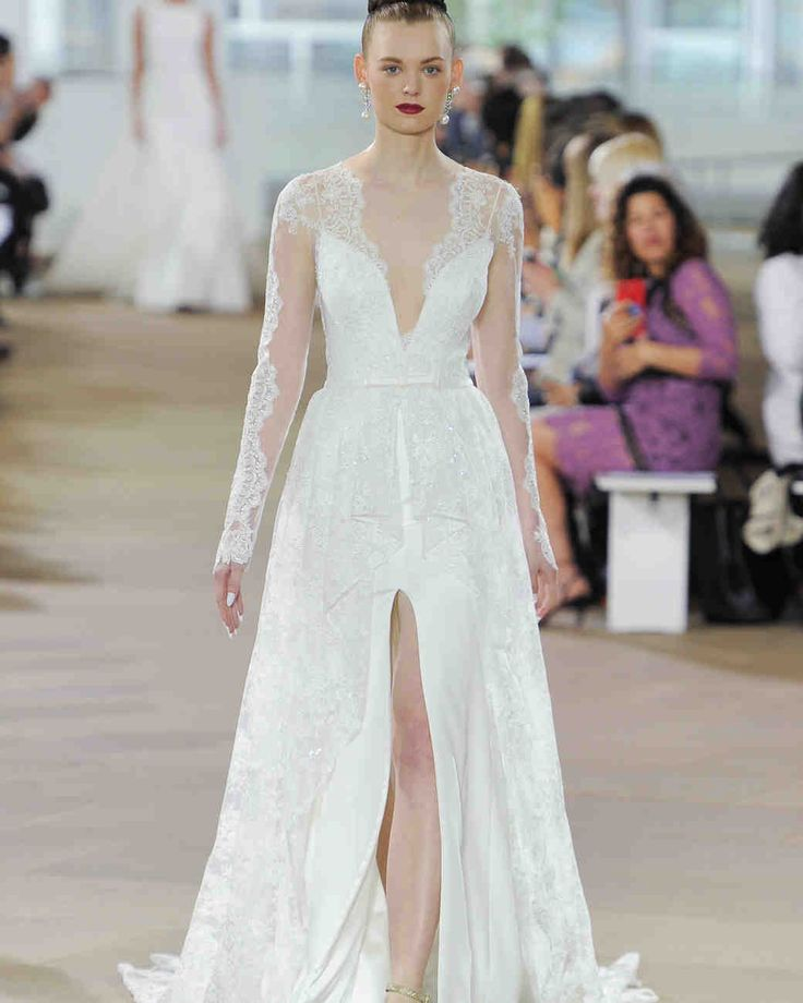 Ines Di Santo Spring 2018 Wedding Dress Collection | Martha Stewart Weddings – Long-sleeve lace wedding dress with high slit