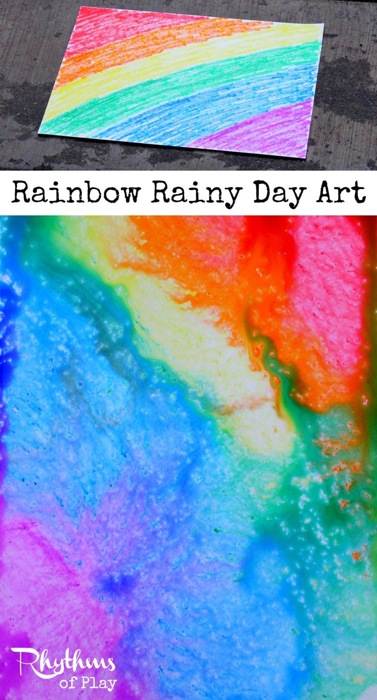 Rainbow rainy day art is a simple STEAM activity for kids. No rain? Click through to find out how to try rainy day art using another method. Art | Science | Rainy Day | STEM | STEAM Learning Activity
