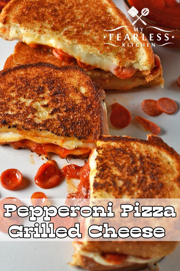 Pepperoni Pizza Grilled Cheese from My Fearless Kitchen. Grilled cheese sandwiches can be so much fun! Kick your next one up a notch with this Pepperoni Pizza Grilled Cheese Sandwich. It's perfect for kids and parents on your next pizza night.