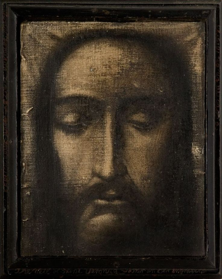 Tony Fomison  The Veil of Saint Veronica - After an Old Engraving of a Relic at the Vatican  190mm x 140mm - sold $46,345