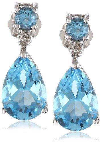 10k White Gold Blue Topaz Pear-Shaped Drop Earrings with Diamond Accent: