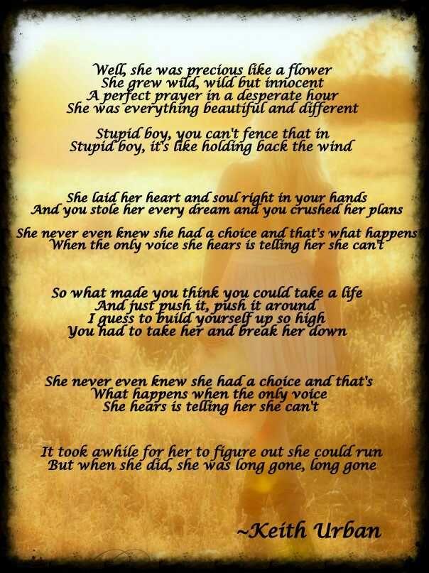 Country Lyrics: Stupid Boy ~ Keith Urban