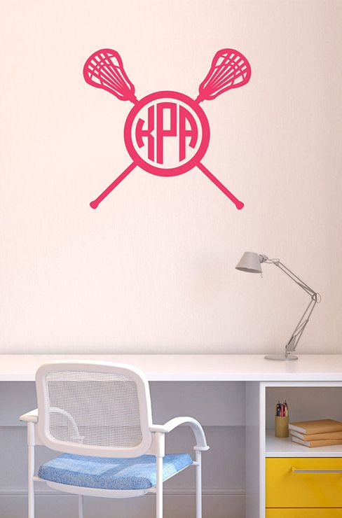 Decorate your space with our removable LuLaGraphix lacrosse wall decal.  Available in multiple sizes and colors, add a monogram to lacrosse sticks!