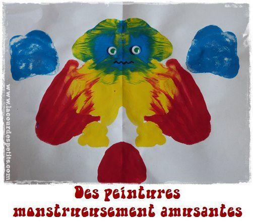 La peinture symétrique : un jeu monstrueusement drôle ! http://www.lacourdespetits.com/jeu-peinture-symetrique/ #monstres #peinture #symetrie
