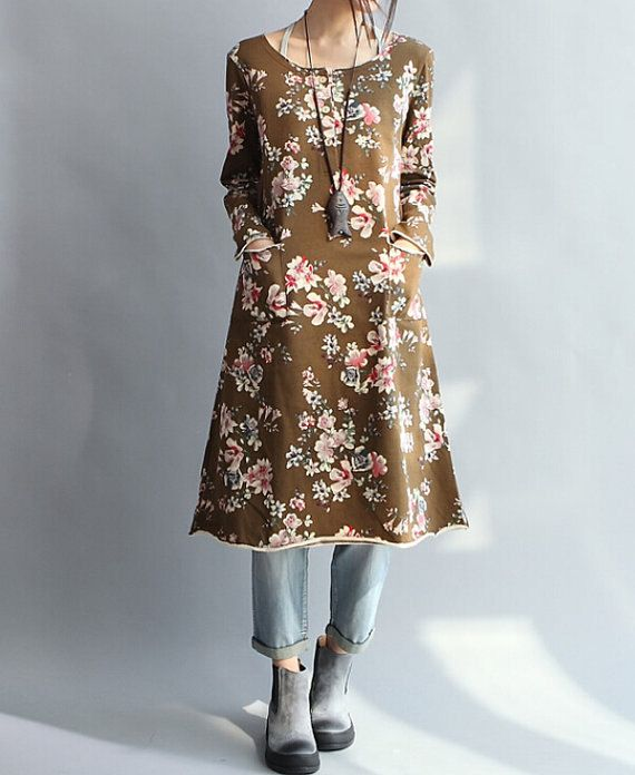 coffee color Loose Long sleeved Long dress/ Fashion by MaLieb