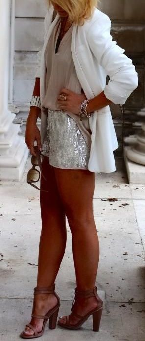 sequin shorts. white blazer. #neutrals