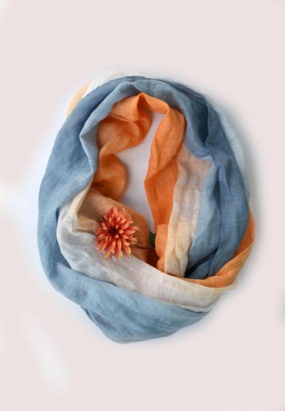 Sciarpa in lino blu e arancione - sciarpa in puro lino - sciarpa lunga lino - Infinity Scarf - regalo - sciarpa lino grosso - estate spiaggia matrimonio sciarpa