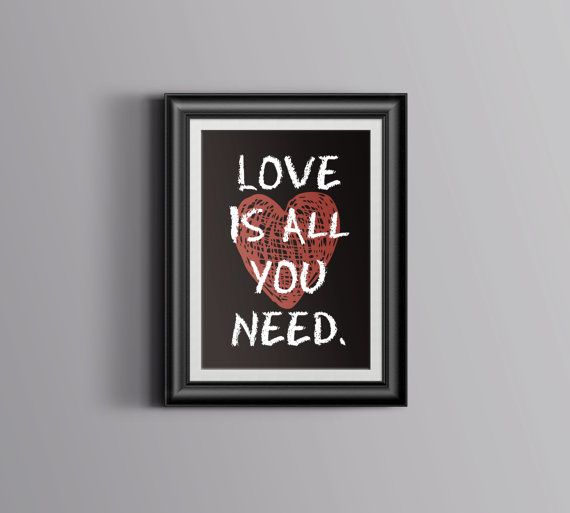 Love Is All You Need Quote Red and Brown by WishfulPrinting