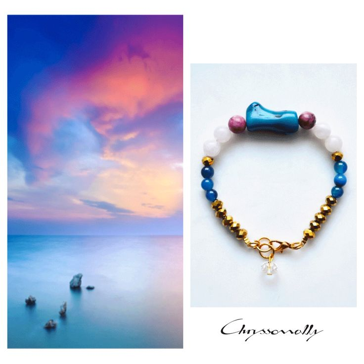 JEWELRY | Chryssomally || Art & Fashion Designer - Dreamy sunset inspiration bracelet with blue, marsala burgundy, rose and gold gemstones and crystals
