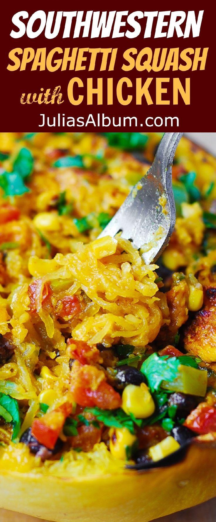 Southwestern Chicken Stuffed Spaghetti Squash - perfect Autumn dinner!  (Thanksgiving, holidays recipes)