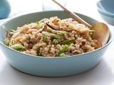 Week 2: Whole Grain Week, Quinoa With Shiitakes and Snow Peas