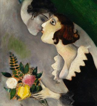 Marc Chagall detail The Birthday In later years, Bella recalled the happy days she spent with Chagall in Vitebsk, her memories inextricably entwined with the painting the couple took back with them to Paris.